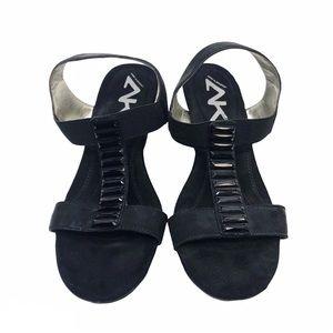 🛍 Anne Klein Sport Luce Black Wedge Sandals
